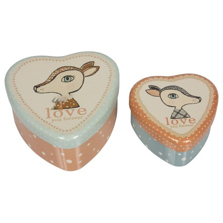 Metal heart, bambi, set of 2