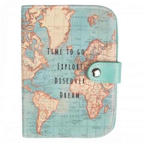 Porta pasaporte vintage mapa