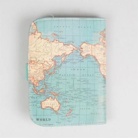 Passport holder vintage map