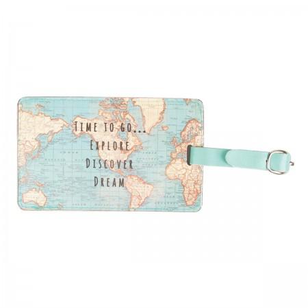 Etiquetas para equipaje vintage mapa