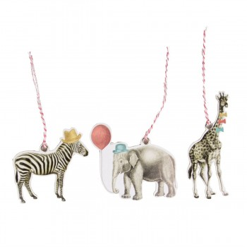 Party safari animals tags (set 12u.)