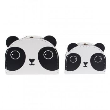 Maleta cartón panda (set 2 u.)