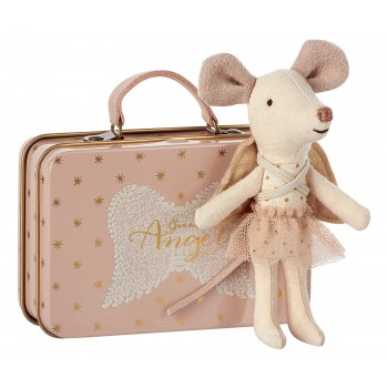 Mouse guardian Angel in suitcase
