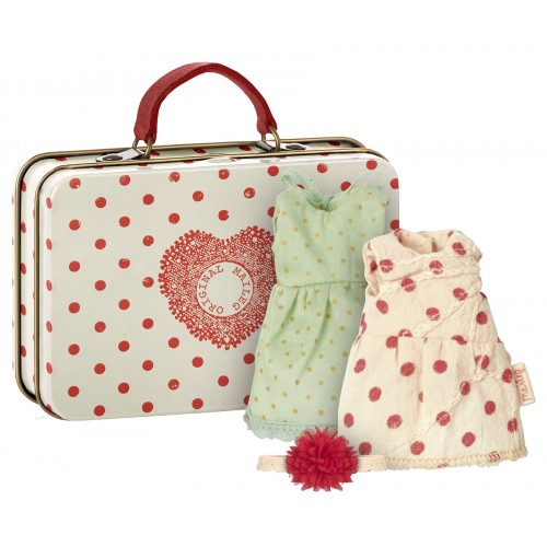 Suitcase red dots, 2 dresses set