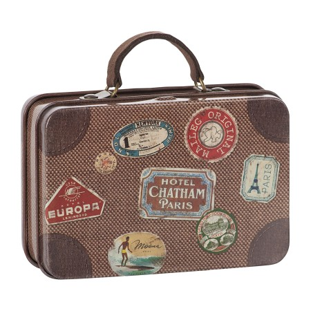 Metal travel suitcase brown