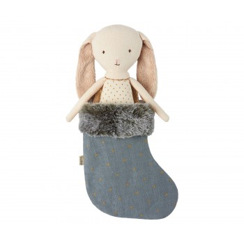 Bunny angel in stocking blue