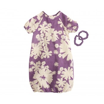 Mega, Purple dress w. flowers, incl. 2 pcs hair elastics
