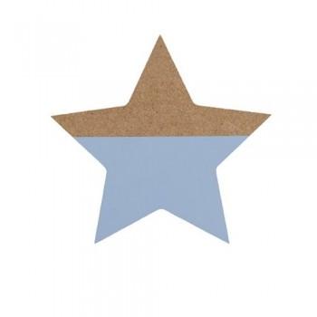 Estrella azul, de madera.