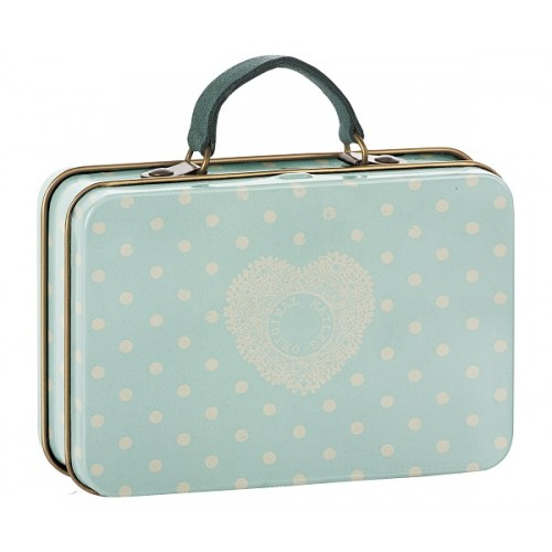 Metal Suitcase, Cream, Mint dots