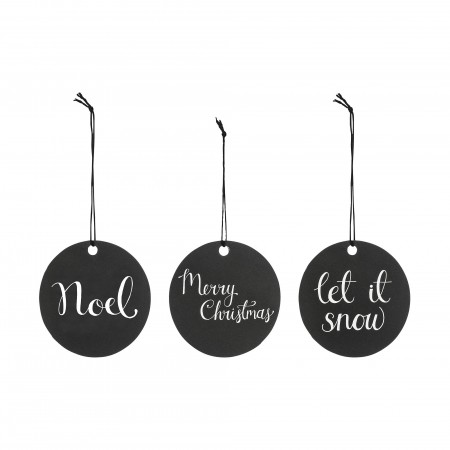 Christmas black gift tags, set of 3