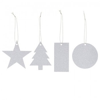 Christmas silver gift tags, set of 8
