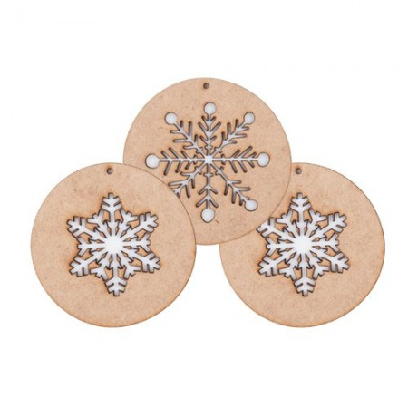 Xmas balls ornament wood, snow (I). Set of 3