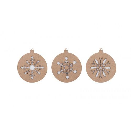 Xmas balls ornament wood, snow (II). Set of 3
