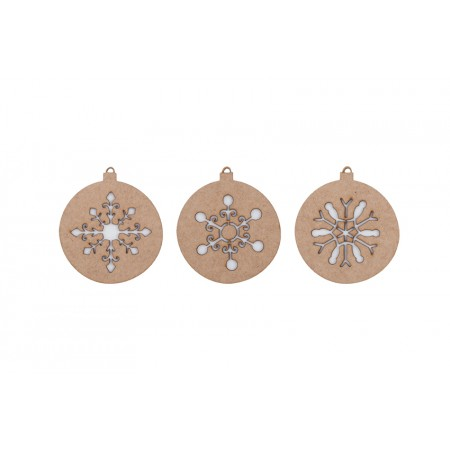 Bolas Navidad madera copos (II). Set 3u.