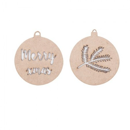 Xmas balls ornament wood, Xmas. Set of 2
