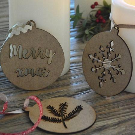 Bolas Navidad madera Xmas. Set 2u.