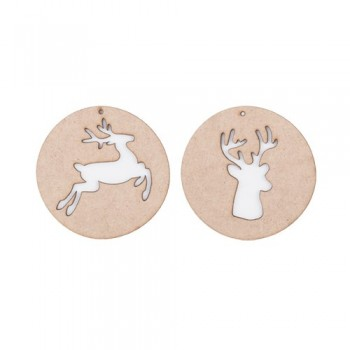 Xmas balls ornament wood, reindeer. Set of 2