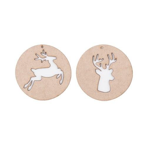 Xmas balls ornament wood, reindeer. Set of 2
