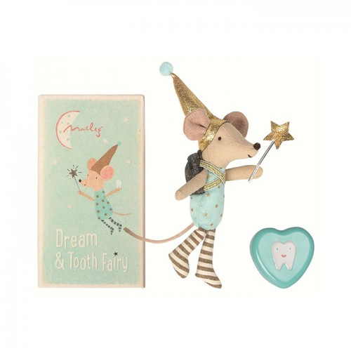Mouse tooth fairy in box, blue with heart