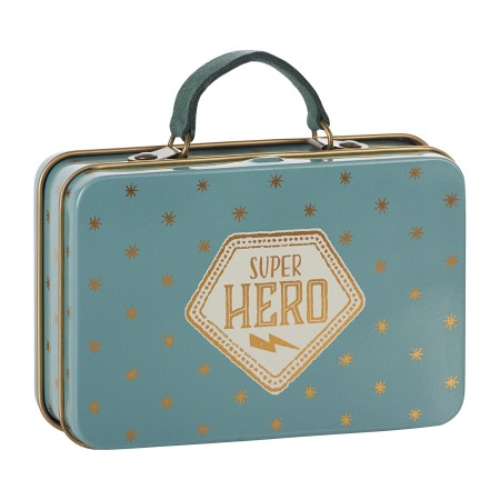 Metal travel suitcase blue