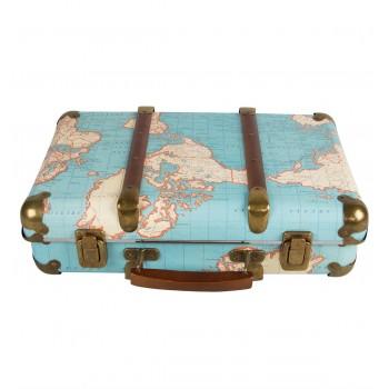 Around The World Vintage Map Suitcase