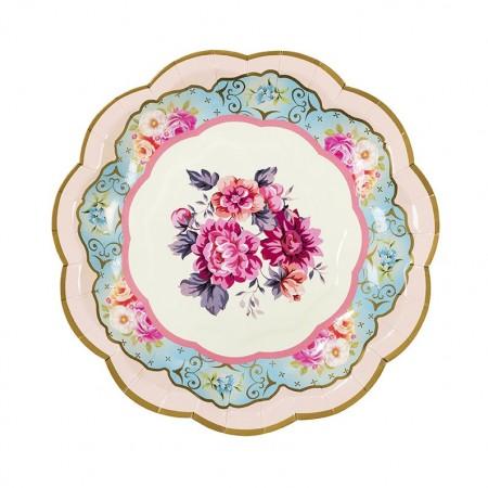 Platos de papel flores Vintage (12u.)