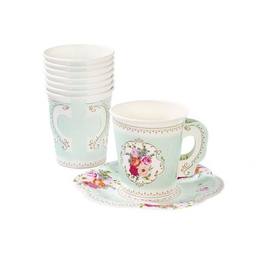 Juego de té de papel flores Vintage (12u.)