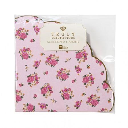 Servilletas de papel rosa flores Vintage (20u.)