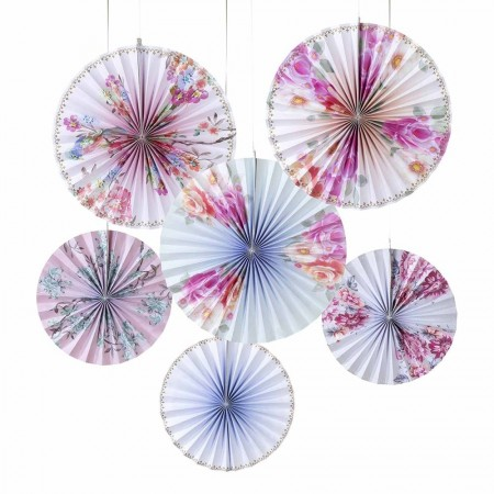Abanicos deco circular Romantic (6u.)