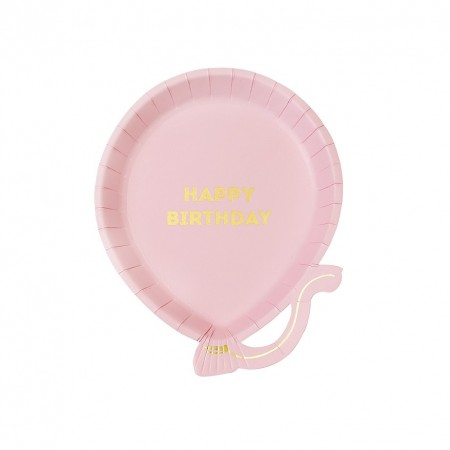 Birthday Pink Balloon Plates (12 u.)