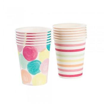 Vasos de papel  rayas y círculos Colores (12u.)