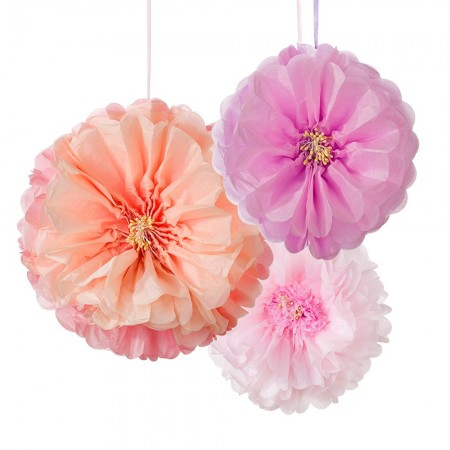 Decadent Decs Blush Flower Pom Poms (3u.)