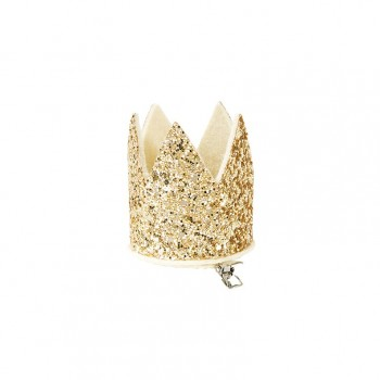 Mini corona purpurina dorada