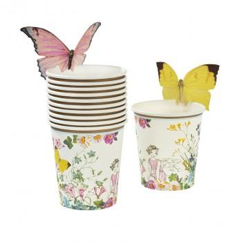 Vasos de papel con mariposa, Fairy (12u.)