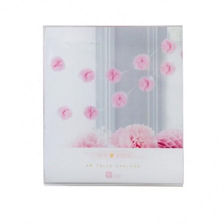 Guirnalda Pom Pom de tul rosa