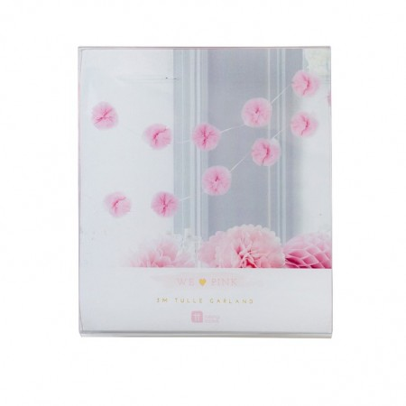 Pink Pom Poms Garland