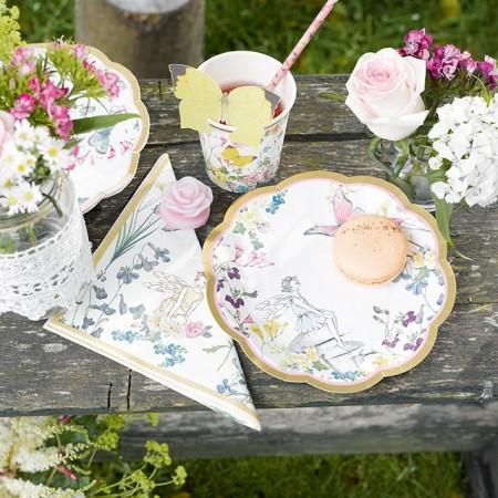 Platos de papel grandes flores Vintage (8u.)