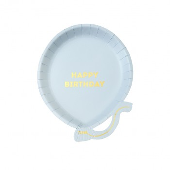 Birthdays Blue Balloon Plates (12 u.)