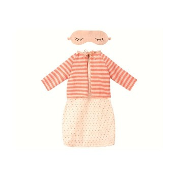 Best Friend, Night dress w. cardigan - Coral